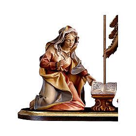 Gruppo Annunciazione su piedistallo 5 pezzi presepe Original legno Valgardena 12 cm s2
