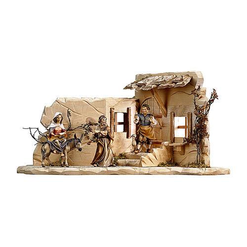 Scena cerca alloggio presepe Original legno dipinto Valgardena 10 (44x21x21) cm 1