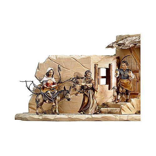 Scena cerca alloggio presepe Original legno dipinto Valgardena 12 (48x23x23) cm 2