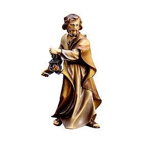 San Giuseppe con lanterna presepe Original legno dipinto Valgardena 10 cm s1