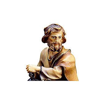 San Giuseppe con lanterna presepe Original legno dipinto Valgardena 10 cm 2