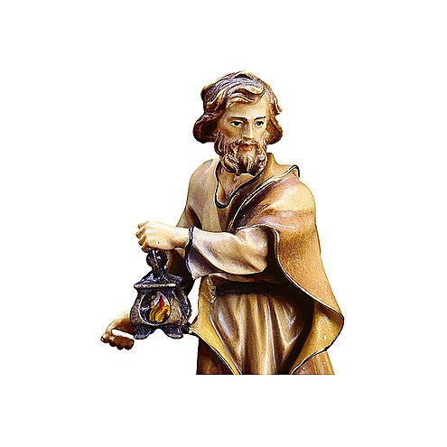San Giuseppe con lanterna presepe Original legno dipinto Valgardena 12 cm 2