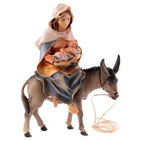 Belén Val Gardena: Virgen María embarazada sobre el burro con pregamino para belén Original madera pintada Val Gardena, figuras de altura media 10 cm