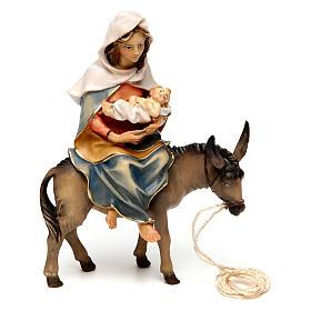 Belén Val Gardena: Santa María sobre su burro con Niño Jesús en brazos belén Original madera pintada Val Gardena 12 cm