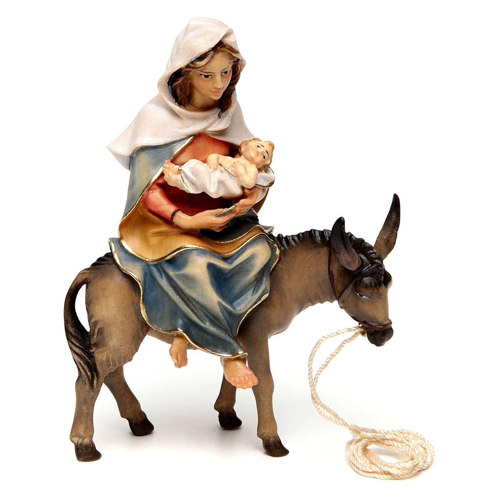 Santa Maria su asino con Gesù Bambino in grembo presepe Original legno Valgardena 12 cm 4