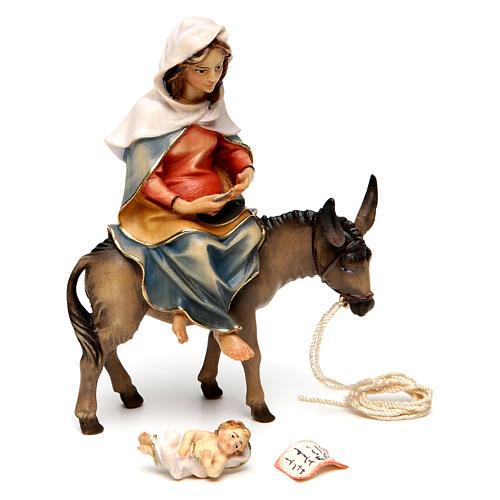 Santa Maria su asino con Gesù Bambino in grembo presepe Original legno Valgardena 12 cm 3