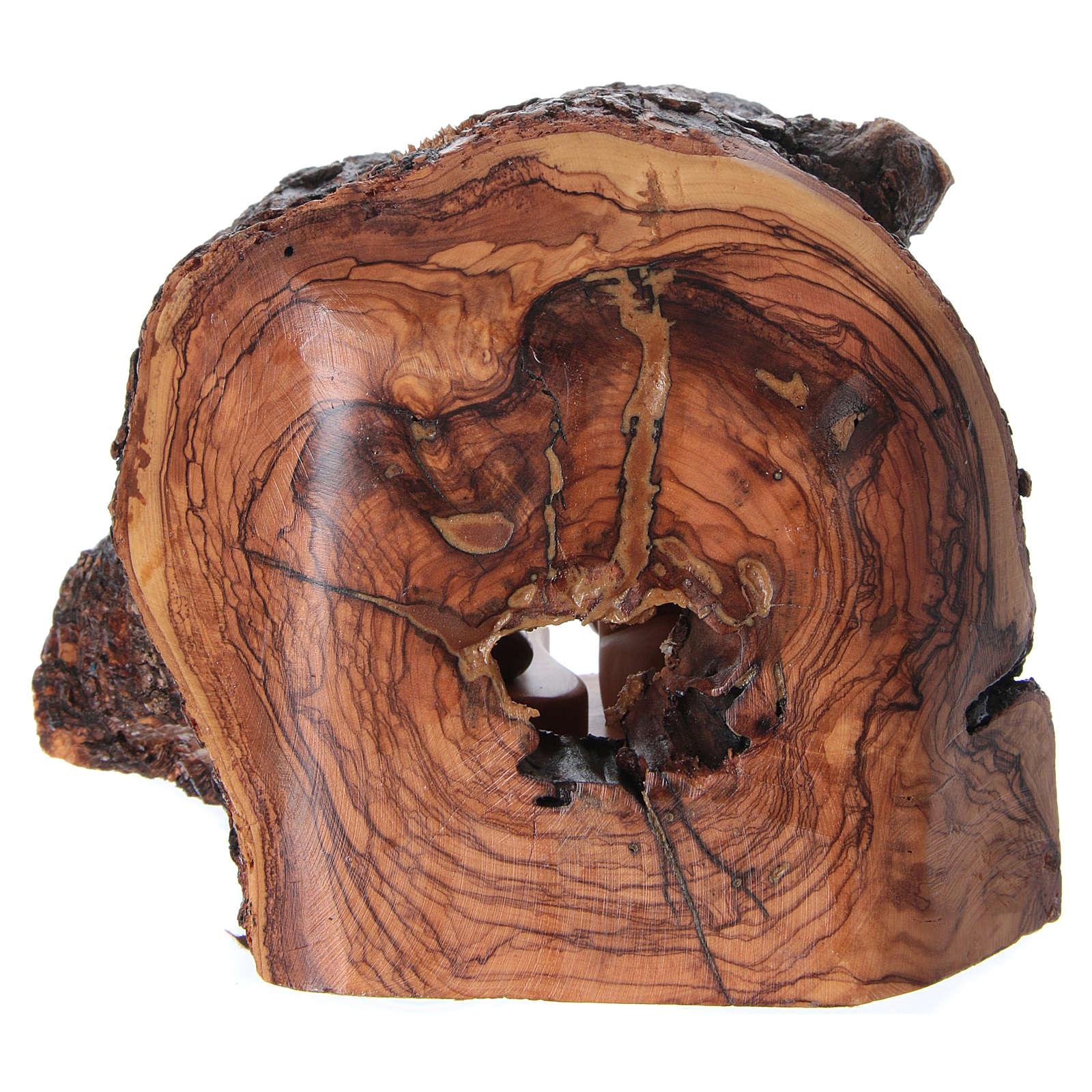 Natividad en cueva de madera de olivo de Belén 15x20x15 cm 4