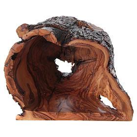 Nativité dans grotte de bois d'olivier Bethléem 15x20x15 cm s5