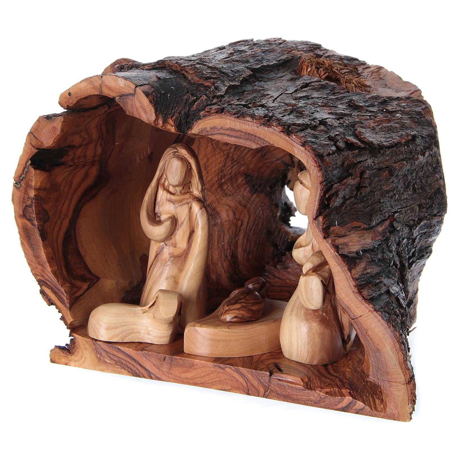 Natività in grotta di legno d'ulivo di Betlemme 15x20x15 cm 4