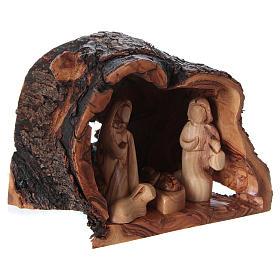 Natività in grotta di legno d'ulivo di Betlemme 15x20x15 cm s4