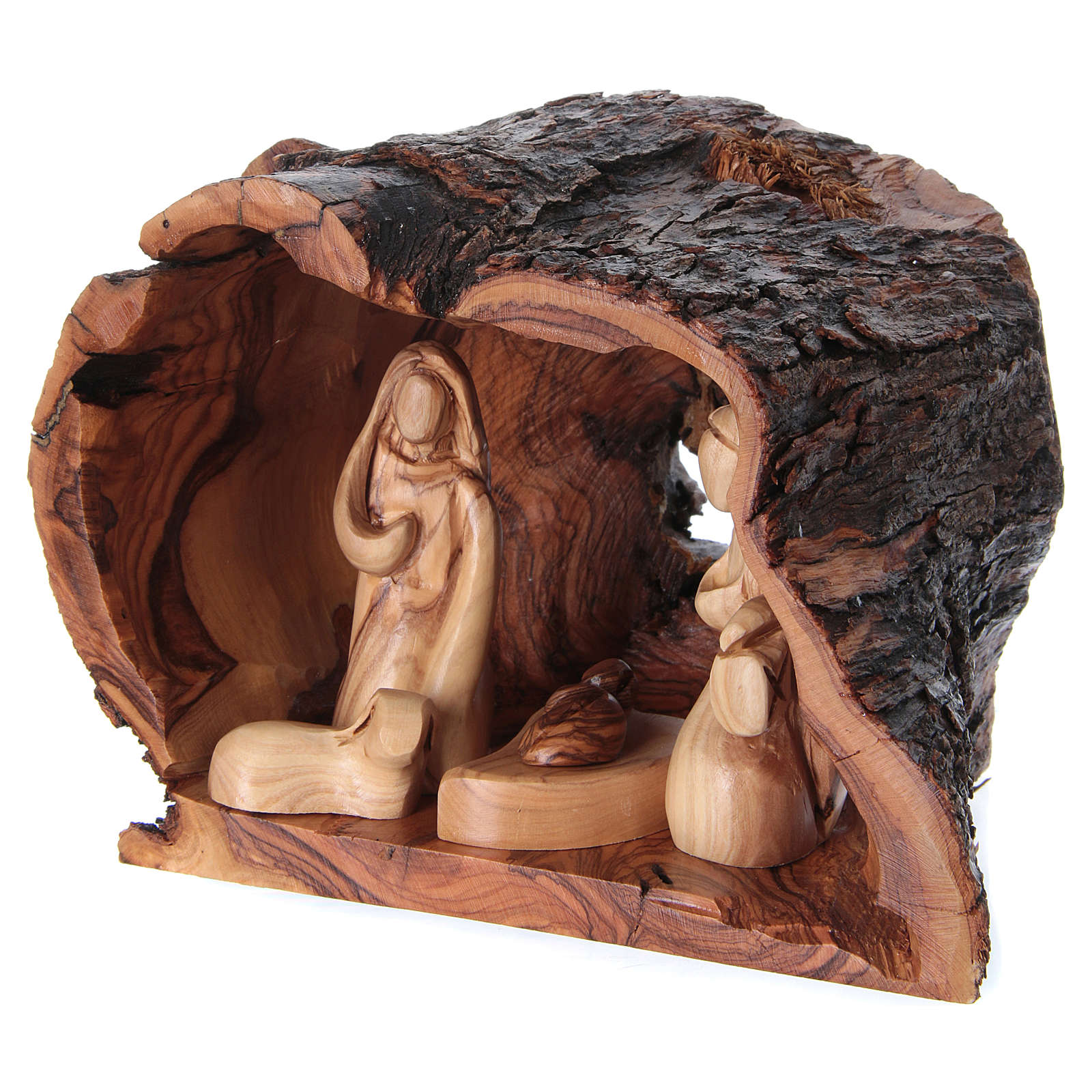 Grotto Holy Family Nativity in Olive wood from Bethlehem 15x20x15 cm 4
