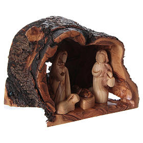 Grotto Holy Family Nativity in Olive wood from Bethlehem 15x20x15 cm s4