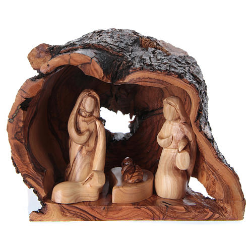 Grotto Holy Family Nativity in Olive wood from Bethlehem 15x20x15 cm 1