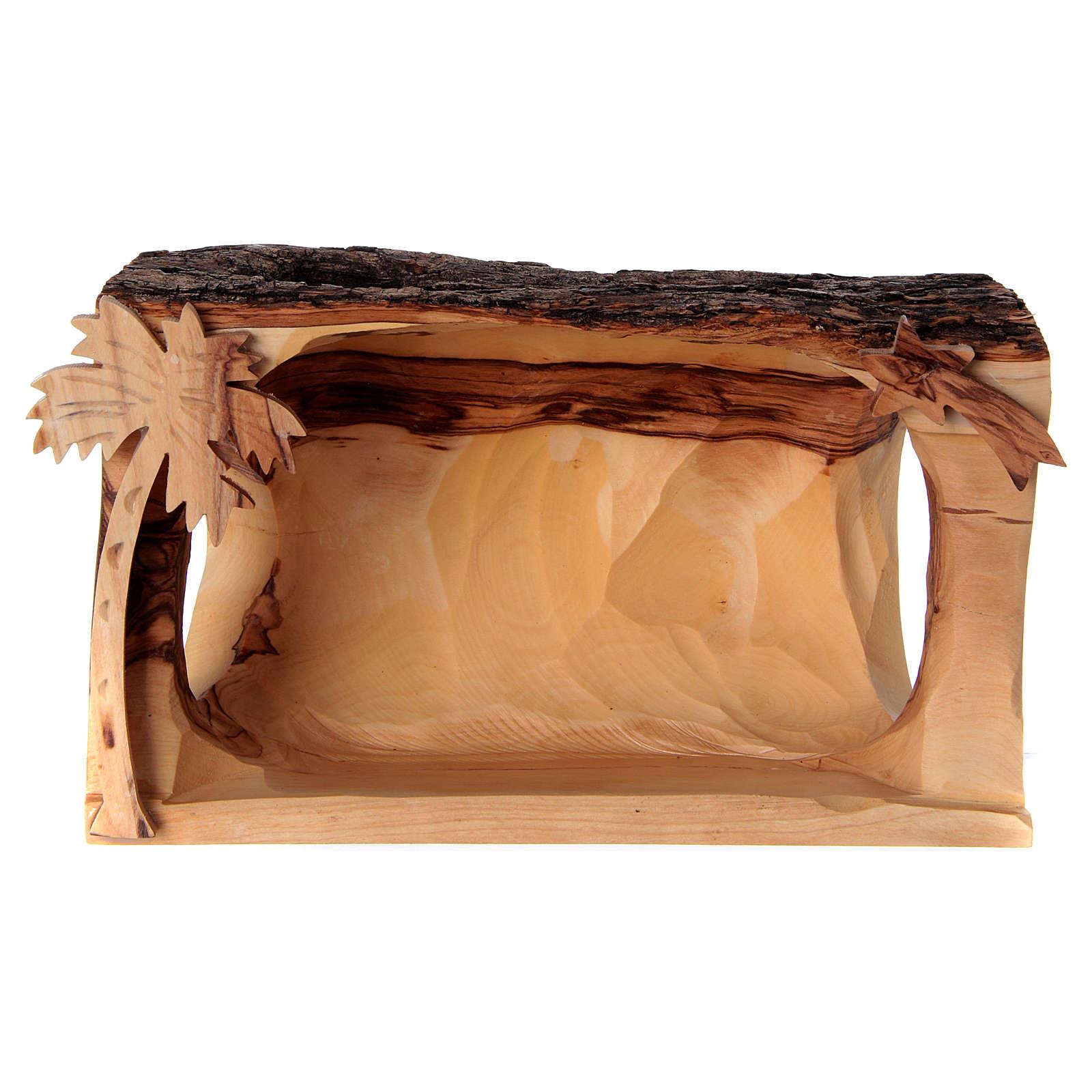 Cabaña con Natividad de madera de olivo Belén 10x20x10 cm 4