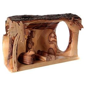 Cabaña con Natividad de madera de olivo Belén 10x20x10 cm s4