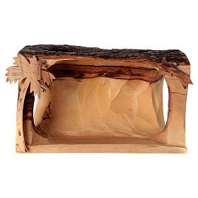Cabaña con Natividad de madera de olivo Belén 10x20x10 cm s5