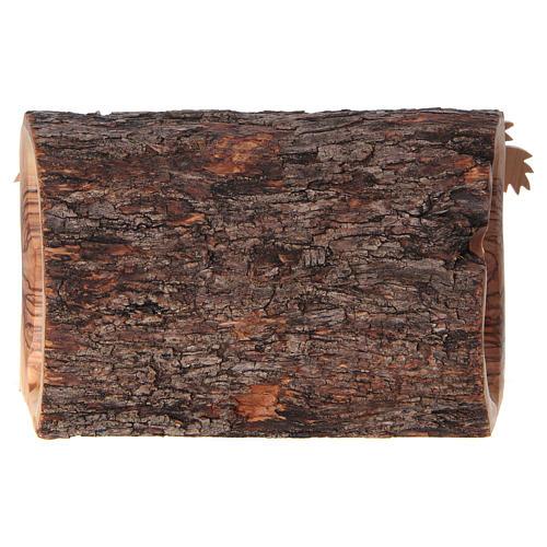 Cabaña con Natividad de madera de olivo Belén 10x20x10 cm 6