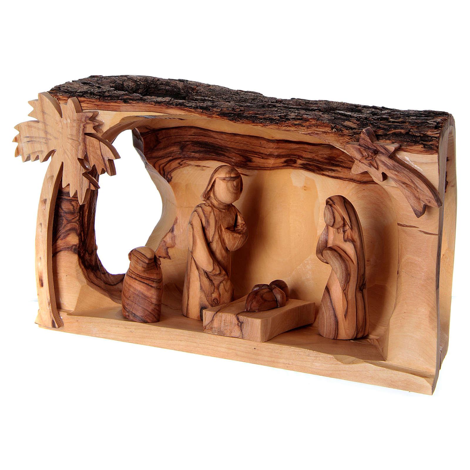 Cabane avec Nativité en bois d'olivier Bethléem 10x20x10 cm 4