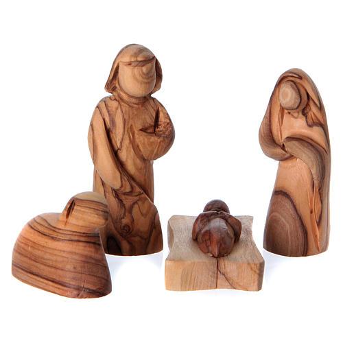 Cabane avec Nativité en bois d'olivier Bethléem 10x20x10 cm 2