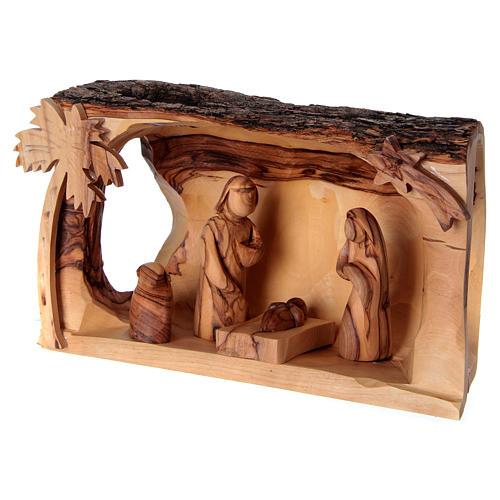 Cabane avec Nativité en bois d'olivier Bethléem 10x20x10 cm 3