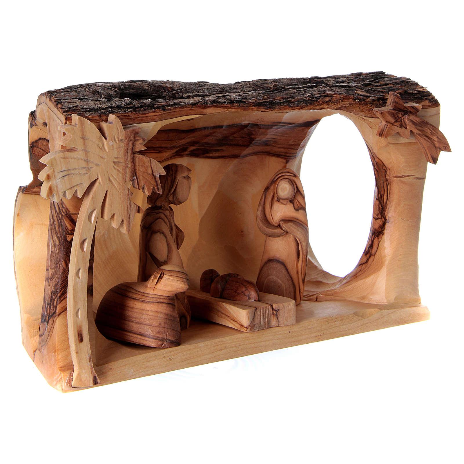 Capanna con Natività in legno d'ulivo Betlemme 10x20x10 cm 4