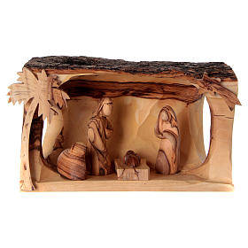 Stable Holy Family Scene in Olive wood from Bethlehem 10x20x10 cm s1