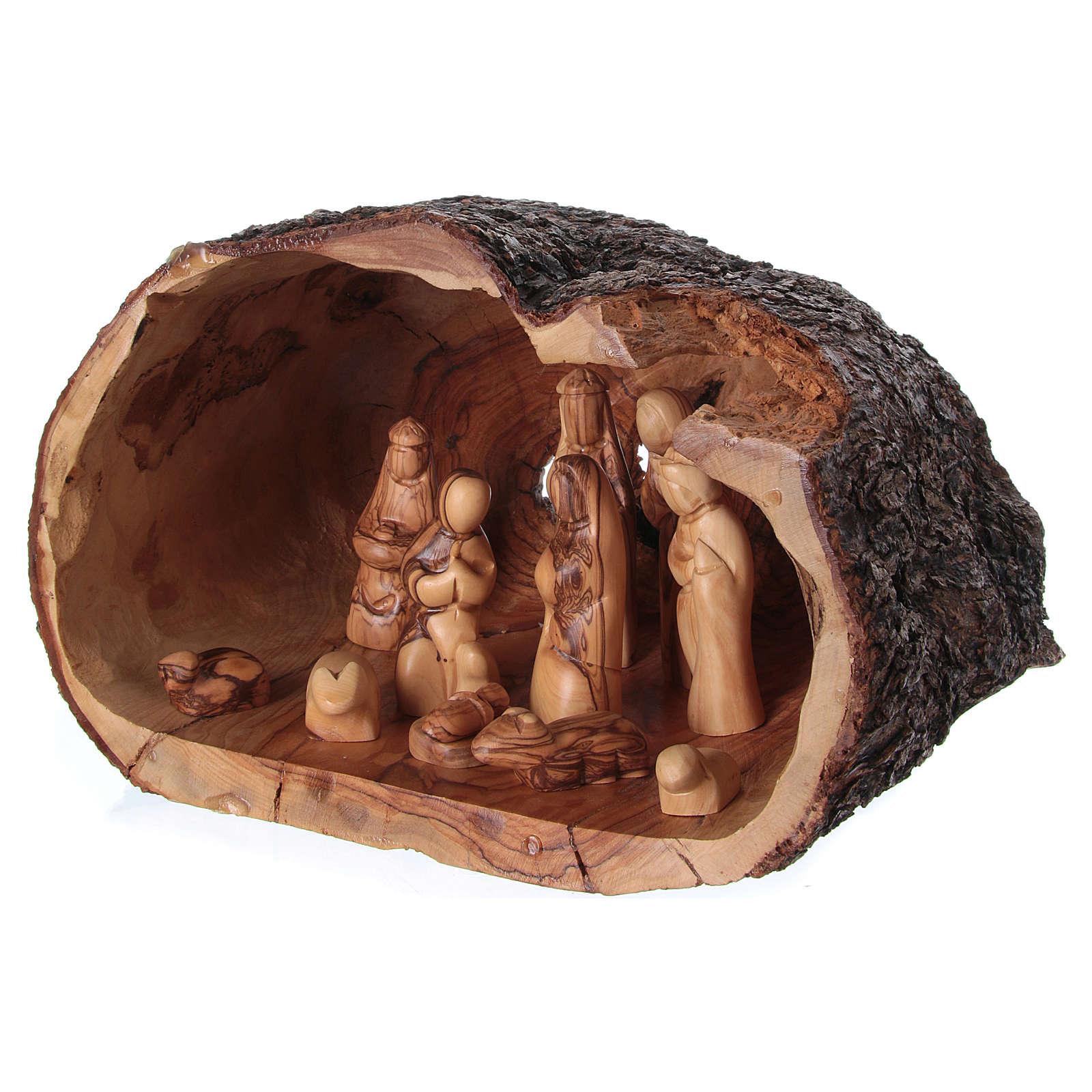 Belén completo en cueva olivo de Belén 20x30x20 cm 4