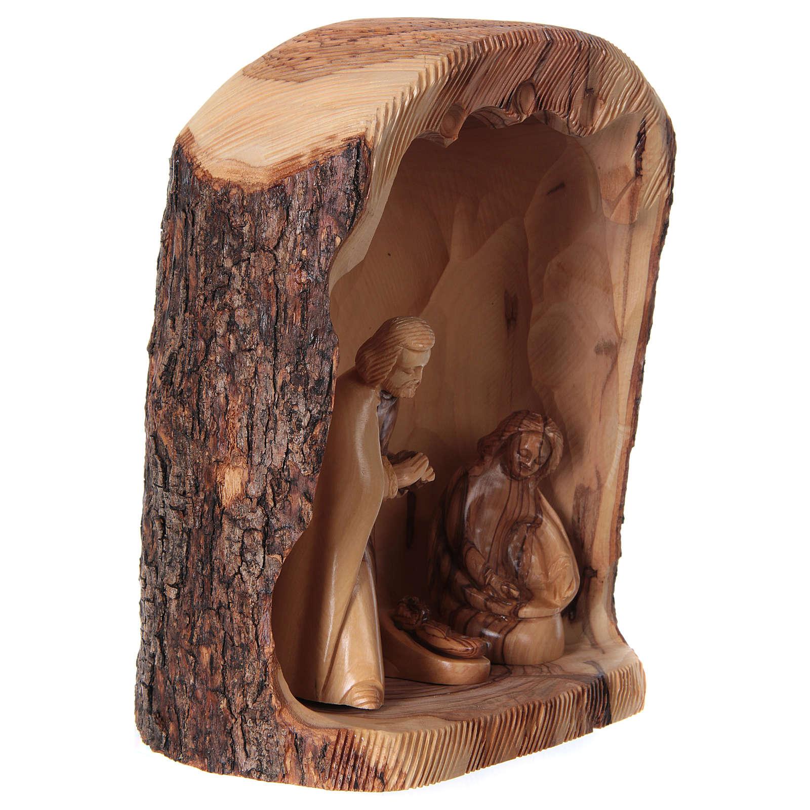 Natività in nicchia ulivo di Betlemme 25x10x15 cm modelli assortiti 4