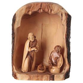Natività in nicchia ulivo di Betlemme 25x10x15 cm modelli assortiti s1