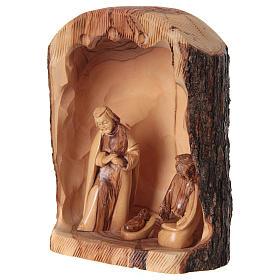 Natività in nicchia ulivo di Betlemme 25x10x15 cm modelli assortiti s5