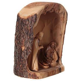 Natività in nicchia ulivo di Betlemme 25x10x15 cm modelli assortiti s8
