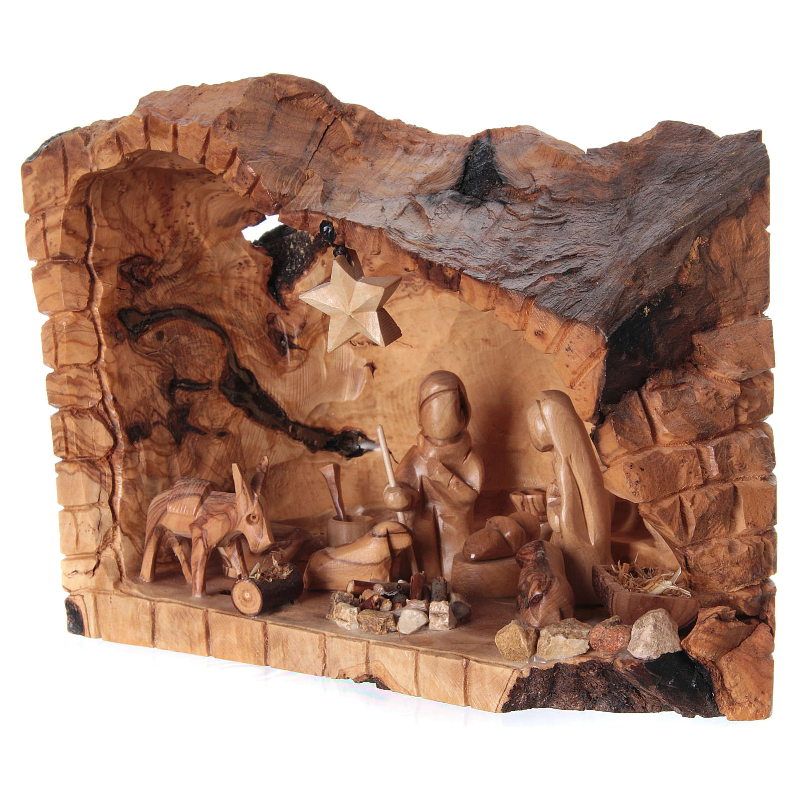 Natività ulivo di Betlemme in stalla forma asimmetrica 20x30x20 cm. 4