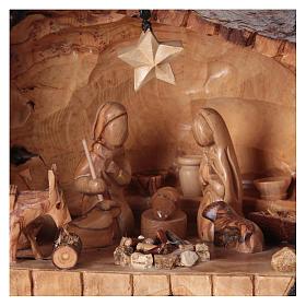 Natività ulivo di Betlemme in stalla forma asimmetrica 20x30x20 cm. s2