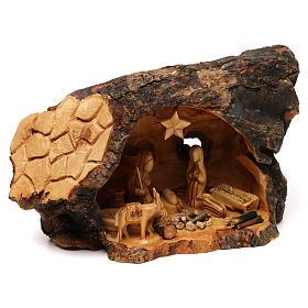 Natività ulivo di Betlemme in stalla forma asimmetrica 20x30x20 cm. s4