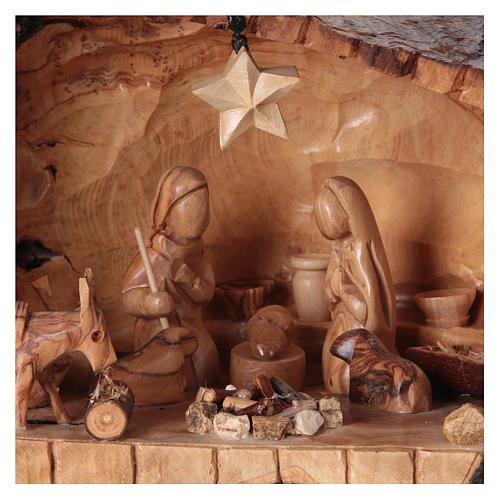 Natività ulivo di Betlemme in stalla forma asimmetrica 20x30x20 cm. 2