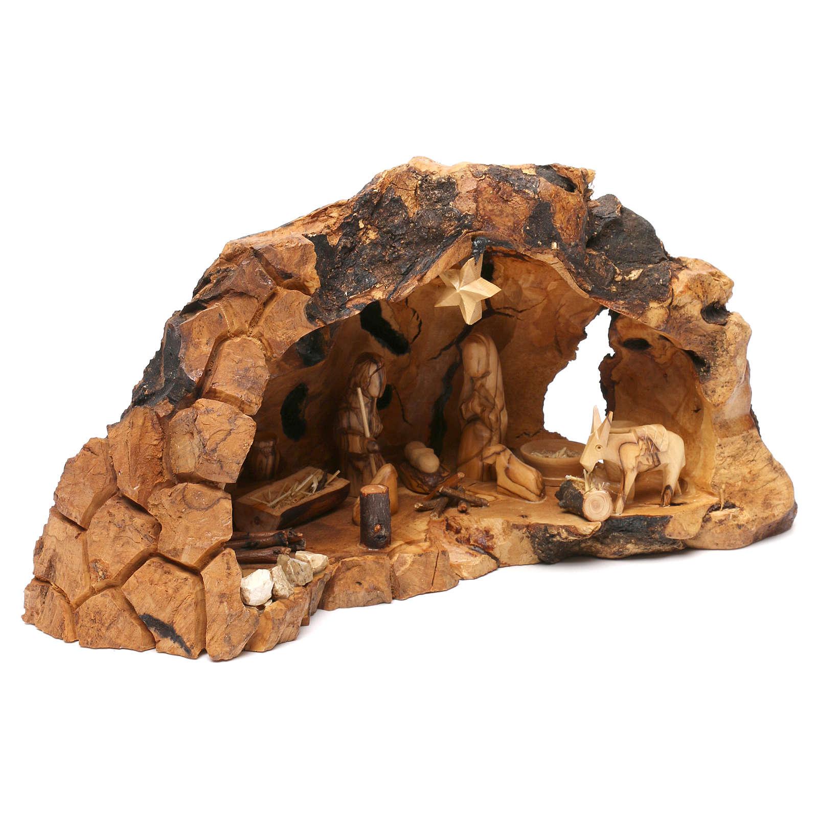 Natività ulivo di Betlemme in stalla forma irregolare 20x30x20 cm 4