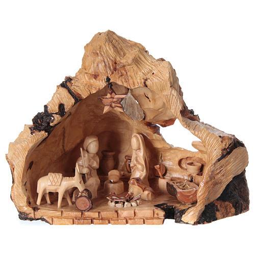 Natività ulivo di Betlemme in grotta forma irregolare 20x30x20 cm 1