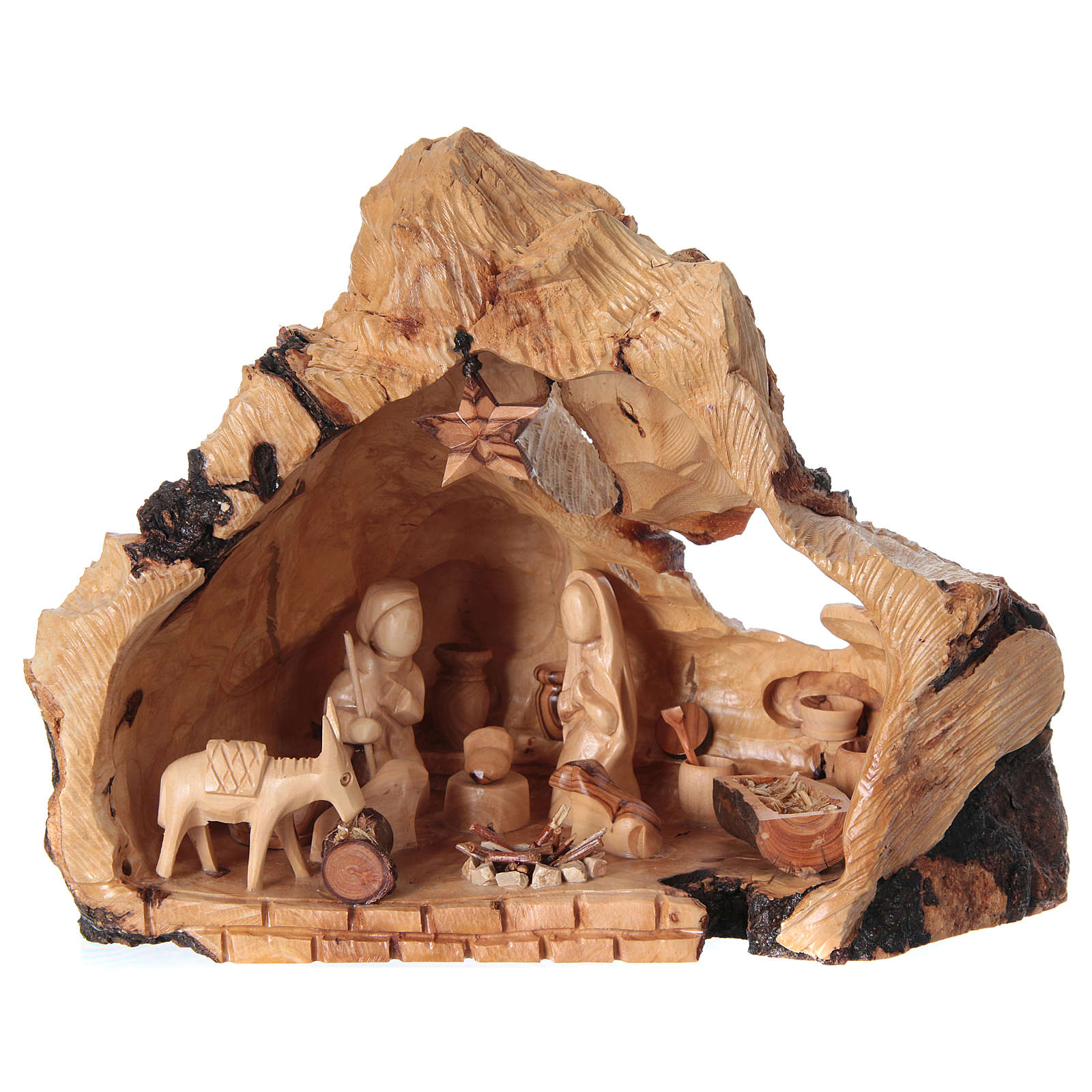 Holy Family in uneven Cave in Olive wood from Bethlehem 20x30x20 cm 4