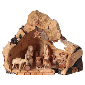 Holy Family in uneven Cave in Olive wood from Bethlehem 20x30x20 cm s1