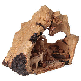 Holy Family in uneven Cave in Olive wood from Bethlehem 20x30x20 cm s4