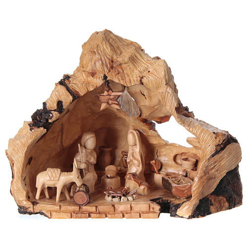 Holy Family in uneven Cave in Olive wood from Bethlehem 20x30x20 cm 1