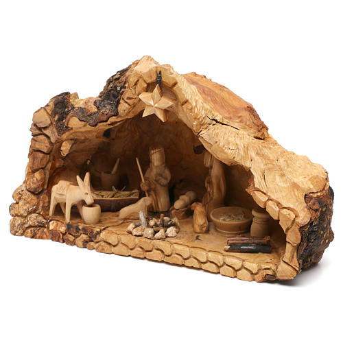 Holy Family in uneven Cave in Olive wood from Bethlehem 20x30x20 cm 3