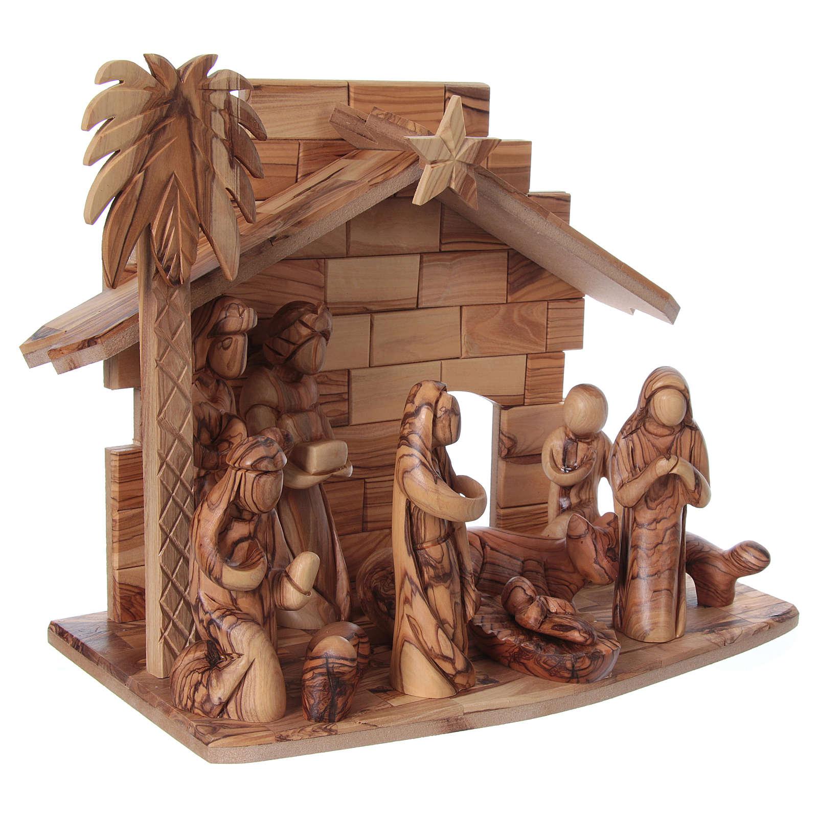 Presepe completo in legno d'ulivo di Betlemme stilizzato