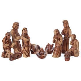 Presepe completo in legno d'ulivo di Betlemme stilizzato 17 cm s2