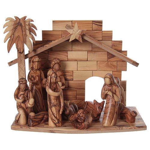 Presepe completo in legno d'ulivo di Betlemme stilizzato 17 cm 1