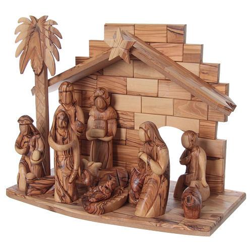 Presepe completo in legno d'ulivo di Betlemme stilizzato 17 cm 3