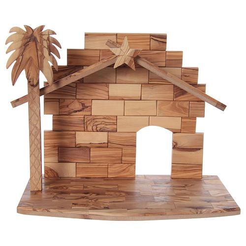 Presepe completo in legno d'ulivo di Betlemme stilizzato 17 cm 5