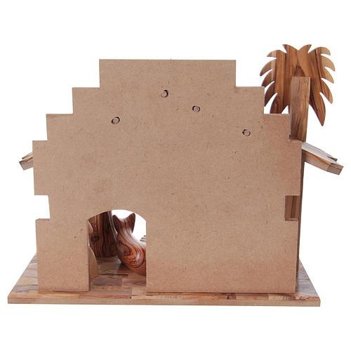 Presepe completo in legno d'ulivo di Betlemme stilizzato 17 cm 6