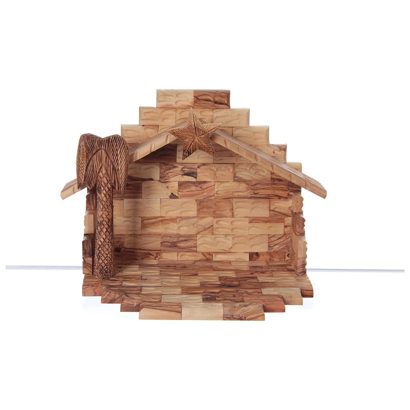 Cabane avec crèche en olivier de Bethléem stylisée 20x25x20 cm 4
