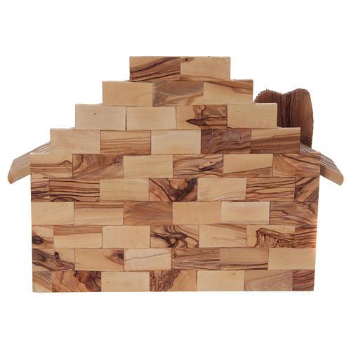 Cabane avec crèche en olivier de Bethléem stylisée 20x25x20 cm 6
